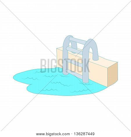 Swimming pool ladder icon in cartoon style isolated on white background. Pool symbol
