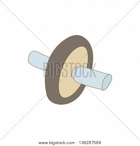 Roller press icon in cartoon style isolated on white background. Training and fitness symbol