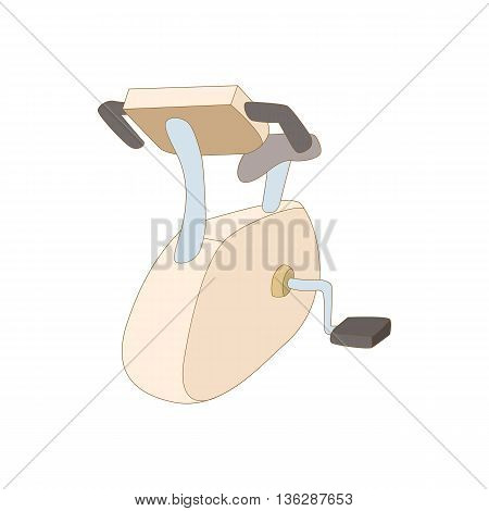 Exercise bike icon in cartoon style isolated on white background. Training and fitness symbol