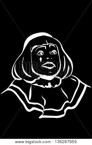 black and white vector sketch white mime smiling