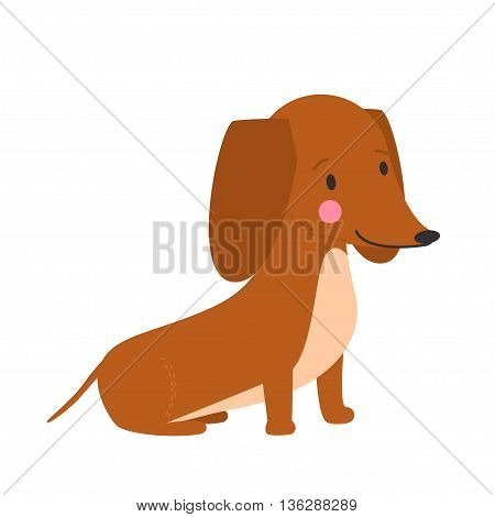 Vector illustration of cute dog dachshund. Nice puppy for greeting card pet shop or veterinary clinics. Dog dachshund is sitting