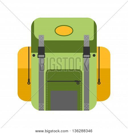 Green vector illustration of campng backpack in flat style. Isolated cartoon back icon