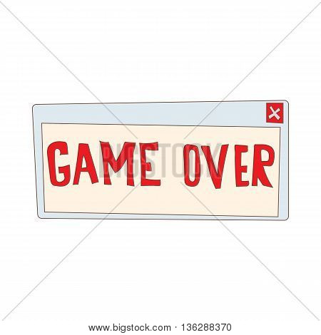 Game over icon in cartoon style isolated on white background. Games and consoles symbol
