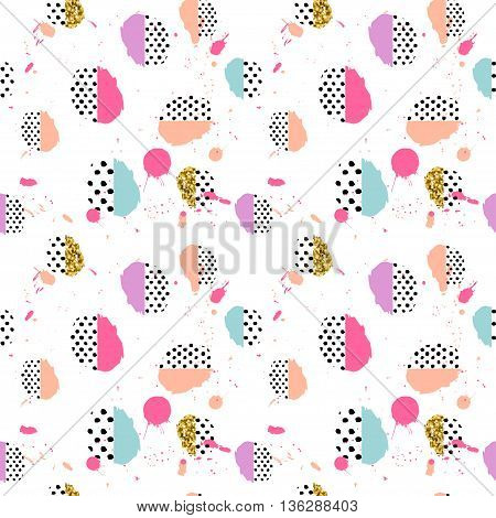 Pattern of retro vintage 80s or 90s style. Memphis pop style for textile fabric design for retro party fabric design. Vector illustration.