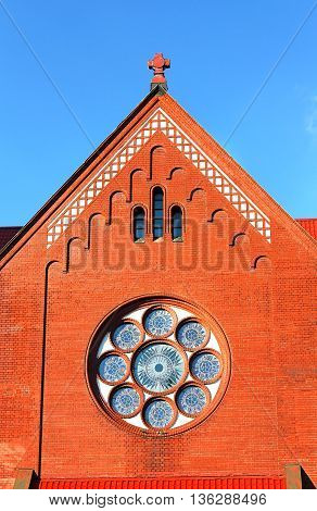 Wall of the catholic church built in the early twentieth century