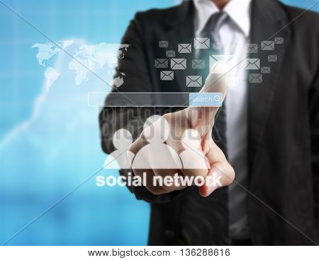 touching virtual icon of social network