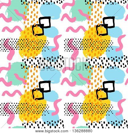 Memphis abstract seamless pattern background in retro vintage 80s or 90s style. Pop pattern for textile fabric design party design. Vector illustration.