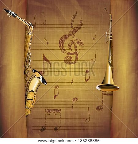 Vector illustration of musical background saxophone and trumpet old sheets with note signs and clef with tears.