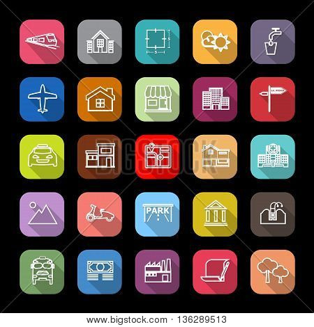 Real estate flat line icons with long shadow stock vector