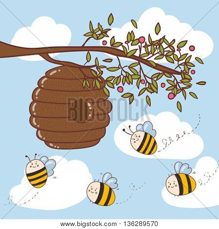 Vector illustration with cute bees honey flowers bee honeycombs.