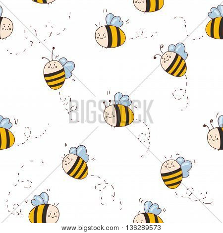 Vector seamless pattern with cute bees. Pattern for children room poster, fabric, banners, design
