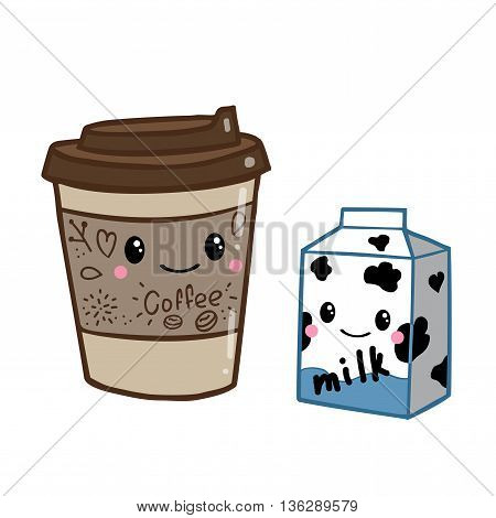 Cute doodle cartoon hand drawn. Coffee and milk