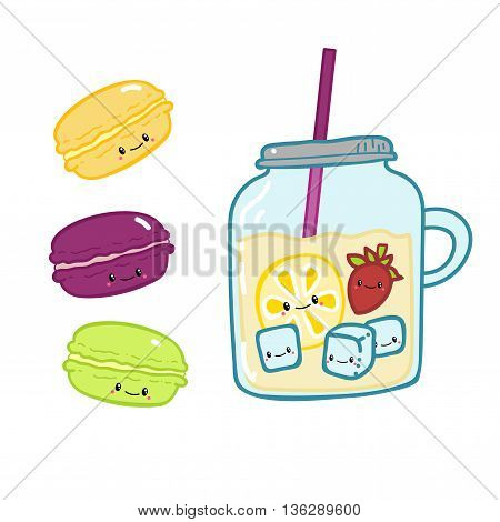 Cute doodle cartoon hand drawn. Macaroons and lemonad