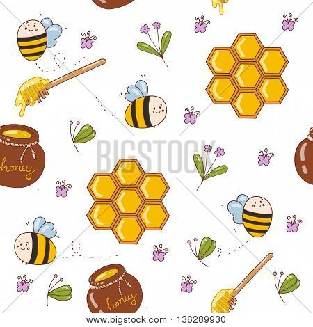 Vector pattern with cute bees honey flowers bee honeycombs a barrel of honey a spoon of honey.