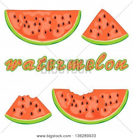 Set of juicy watermelon slices and inscription of watermelon, isolated on white background, illustration.