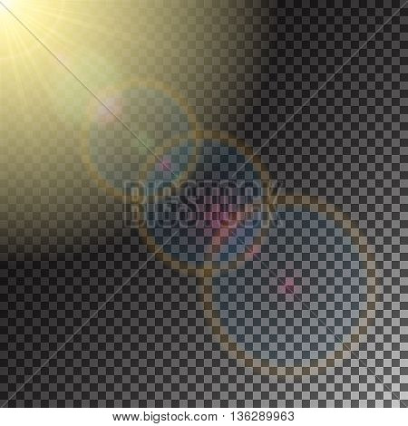 Sun and solar flare, special effect of sunny glare, glowing burst, transparent shine light effect, illustration.