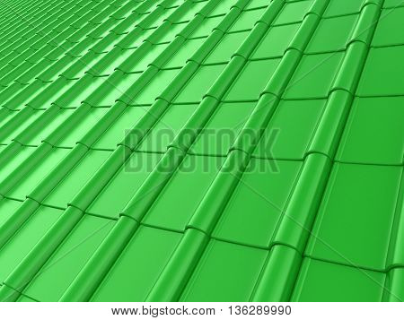 The roof of green tiles. 3D illustration