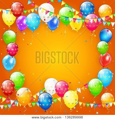 Frame of flying colorful balloons, multicolored pennants and confetti, on orange background, illustration.