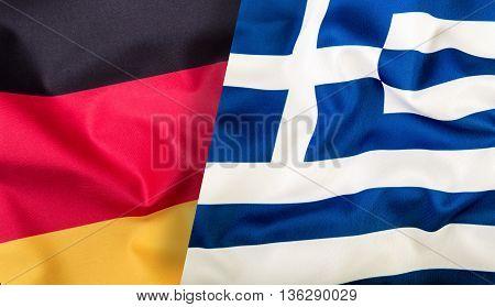Germany Flag Greece Flag. Eu flags. Waving flag of Germany and Greece.