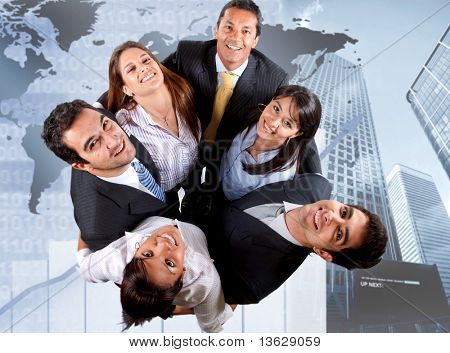 Group of business people with a corporate backgound