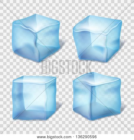 Transparent blue ice cubes in plaid background. Realistic ice in cube form, collection of transparent piece of ice. Vector illustration