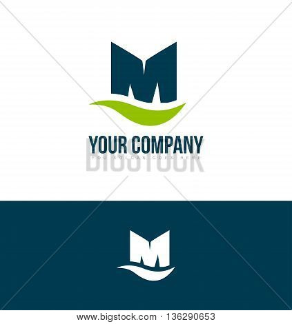 Vector company logo icon element template alphabet letter m bold big green blue media corporate
