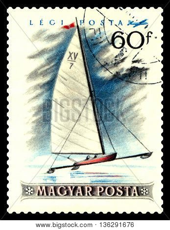STAVROPOL RUSSIA - JUNE 28 2016: a stamp printed by Hungary shows winter ice Sailing sport circa 1955