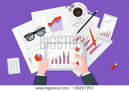 Business research and report on paper sheet modern electronic and mobile devices. Work desktop top view. Flat vector design.