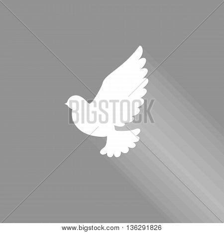 flying dove sign icon with shadow, holy spirit dove icon, peace sigh, no mesh, no transparent, flat design