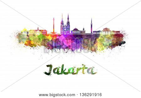 Jakarta skyline in watercolor splatters with clipping path