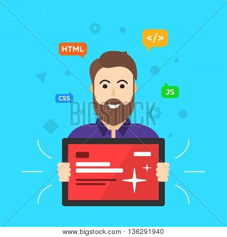 Web designer. Programmer.  Site developer. flat vector illustration