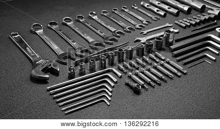 Hardware tools kit laid out in order isolated