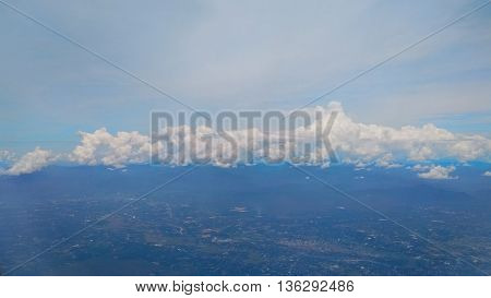 Beautiful cloud bird eye view from airplane as background
