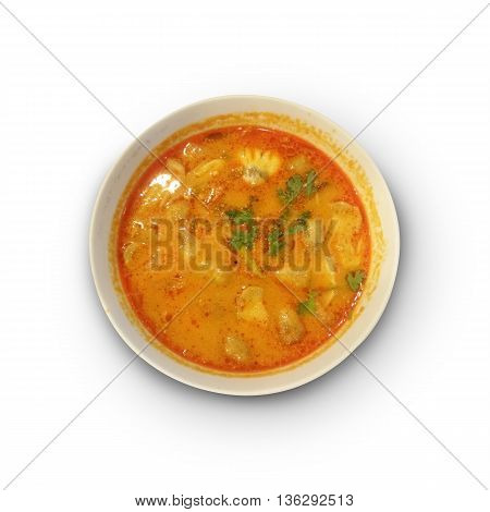 Creamy Tom Yum Kung isolate on white as background