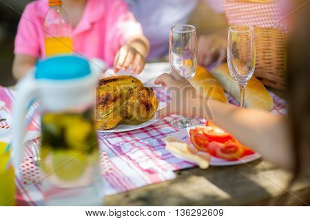 Picnic table in the nature in the forest