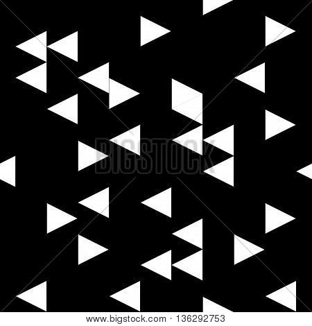 Triangle chaotic seamless pattern. Fashion graphic background design. Modern stylish abstract texture. Monochrome template for prints textiles wrapping wallpaper website etc. VECTOR illustration