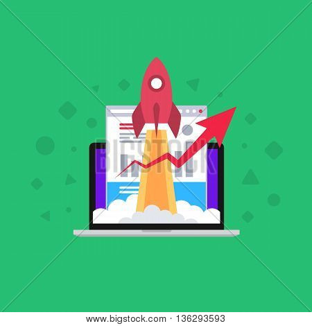 Effective promotion. Turbo SEO boost. Flat vector illustration.
