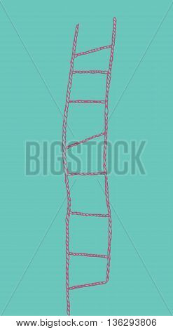 Pink rope ladder on blue background. Isolated.