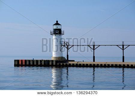 St. Joseph North Pier Outer Light, built in 1906, Lake Michigan, MI, USA