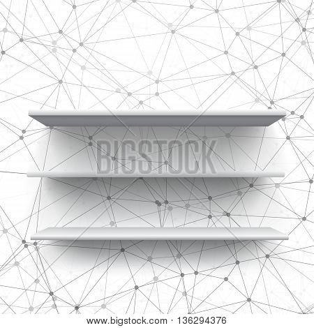 Illustration of Realistic Vector Shelf. Vector Shelf on Wall. Realistic Shelf on Wireframe Background