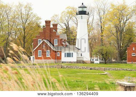 Port Sanilac Lighthouse, built in 1886, Lake Huron, Michigan, USA
