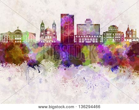 Phoenix skyline in watercolor background artistic abstract