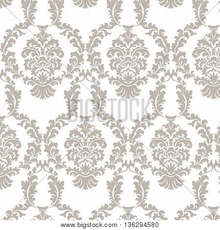 Vector damask pattern ornament. Elegant luxury texture for fabrics or texture backgrounds. Exquisite floral baroque elements. Taupe color