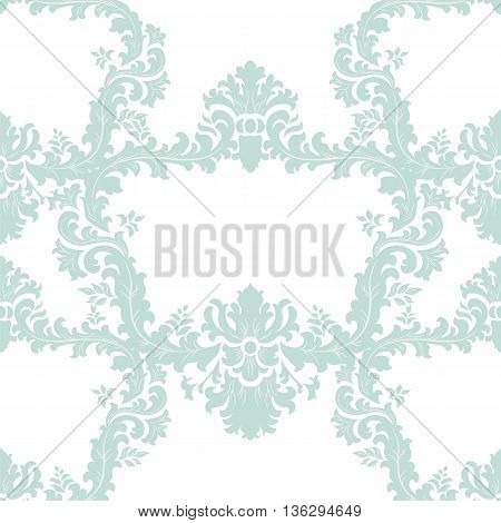 Vintage Floral Baroque ornament damask pattern. Elegant luxury texture for texture fabric backgrounds and invitation cards. Green color. Vector