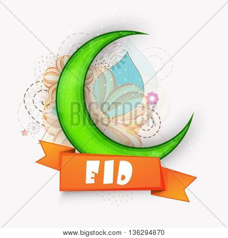 Big Green Crescent Moon with Glossy Ribbon on abstract background, Elegant Greeting Card design for Muslim Community Holy Festival celebration.