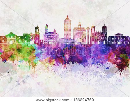 San Antonio skyline in watercolor background artistic abstract