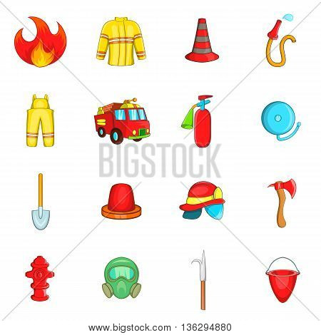 Fireman icons set in cartoon style isolated on white background