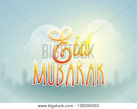 Creative Glossy Text Eid Mubarak on floral design decorated shiny background, Elegant Greeting Card design for Muslim Community Holy Festival celebration.