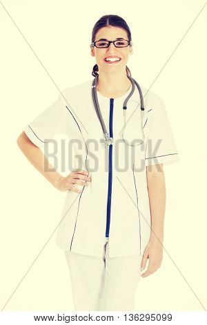 Young beautiful doctor, nurse with stethoscope.