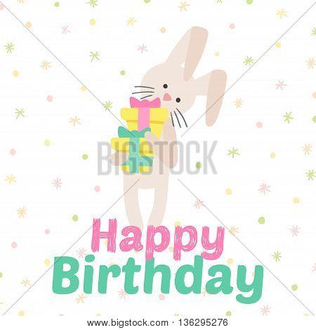 Birthday celebration bunny vector icons. Party background